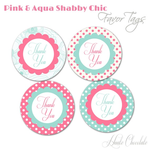 Ordinary Free Baby Shower Tags Part - 13: Items Similar To Pink U0026 Aqua Shabby Chic Favor Tags - DIY Printable Vintage  Inspired Favor Tags On Etsy