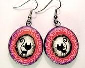 Cat earrings (purple pink wooden earrings with black cats)