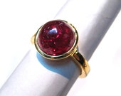 24kt. Gold Plated 925 Sterling Silver Ring studded hydro Ruby 11 mm Round Cabochon Gemstone Engagement Ring beautiful gift wedding ring band