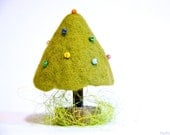 Green christmas tree - Fir-tree - Miniature toy - One of a kind toy - Christmas gift - New Year gift - Green,brown