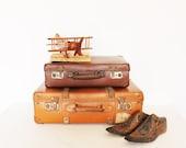 RESERVED /// Vintage retro brown suitcase - AnnaLouVintage