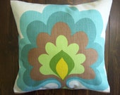 Small 12 inch X 12 inch indoor cushion Pillow Cover Accent HGTV Flower Tower design blue green yellow brown