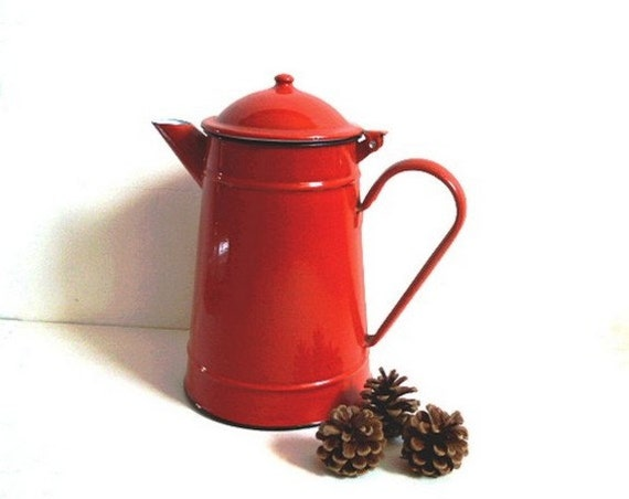 RESERVED FOR RACHEL .Vintage French enamel Pitcher . Jug .  Country decor. Coffee pot .Red .