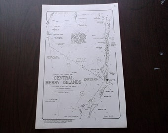 Vintage Central Berry Islands Nautical Maps,Set of 4