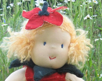 Doll size 52 cm / 20,8 inch Baby Doll, waldorf, german doll, green, red, strawberry