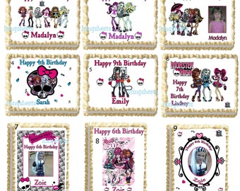 Monster high photo edible image cake topper Birthday cake transfer decal  decoration frosting icing sheet