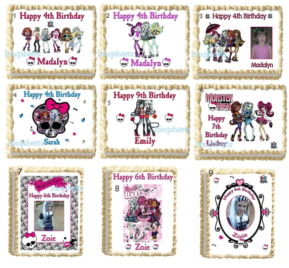 Monster High Cake Decoration Kit : Items similar to Monster high photo edible image cake ...