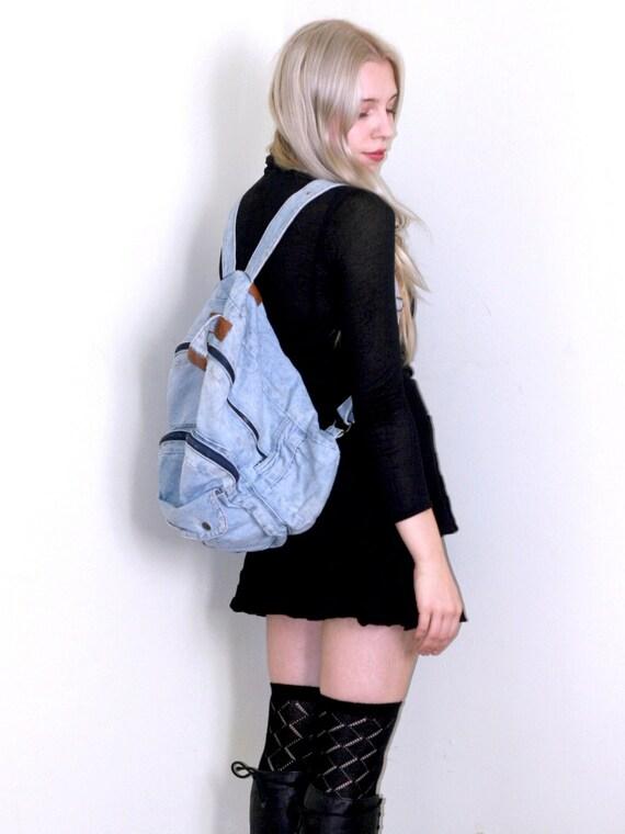 1990's Blue Denim Backpack