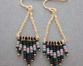 Gold chain, beaded earrings in chevron style, chandelier, dangle earrings