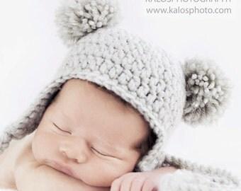 Baby Bear Pom-Pom Hat, Polar Bear Ear-flap Beanie, 3-6 months