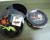 Vintage Japanese set of 6 coasters and box papiermache hand painted