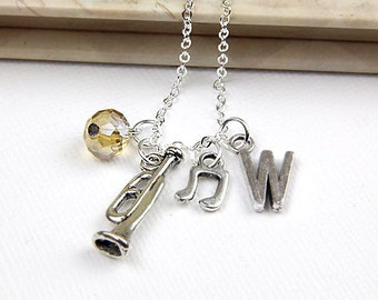Personalized Music Necklace with Your Initial and Birthstone Perfect for any Trumpet Player  - SP59