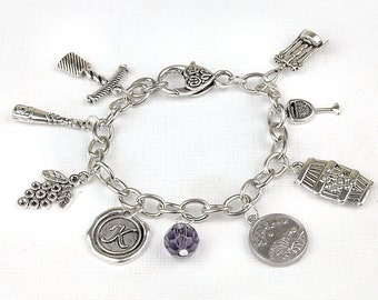 Personalized  Wine Lovers Bracelet with Your Initial, Zodiac and Birthstone