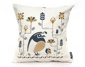 SALE - Woodland Quail Pillow - Organic Quail Decor 14X14