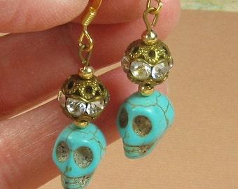 Turquoise Skull Earrings with Vintage Rhinestone Beads