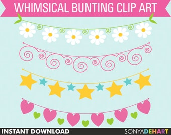 Clipart Bunting Whimsical Spring Flowers Hearts and Stars