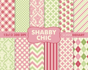 80% OFF Sale Digital Paper Shabby Chic Roses Background Patterns