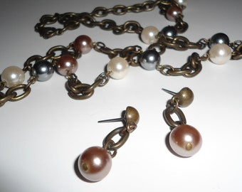 Vintage Multi-color Pearl and Heavy Chain  Necklace and Earrings Quality Gift Set