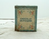 RESERVED for EMI Vintage French Chocolat Powder Tin With Hinged Lid in Duck Egg Blue and Rosebud Pattern