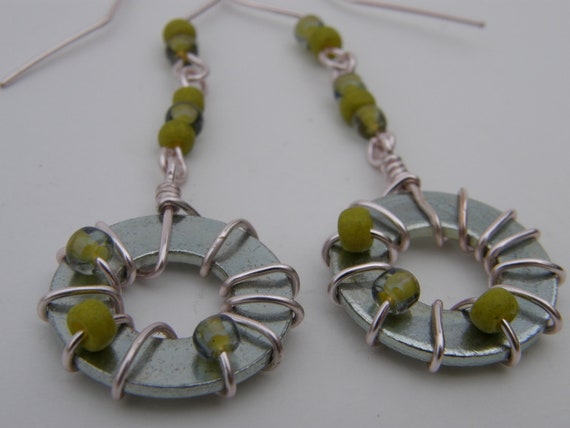 Industrial Chic Steel Washer Beaded Earrings, Green Glass Beads