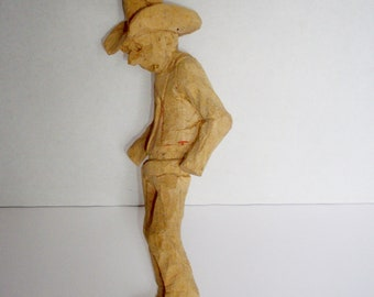 Vintage Wood Carving Cowboy Hand Carved Rough Carving Primitive