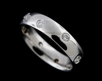 14K White Gold Diamond Wedding Band 4.6mm Wide