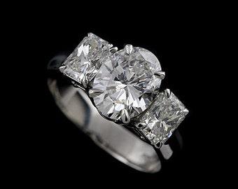 Art Deco Diamond Engagement Ring, Oval Radiant Cut Proposal Ring, Three Stone Engagement Ring, Plain Shank Platinum Ring Setting Mounting
