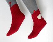 Burgundy Red Slipper Socks Lacing Slippers for Women