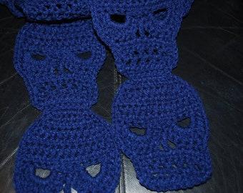 Crocheted SKULL Scarf in Soft Navy