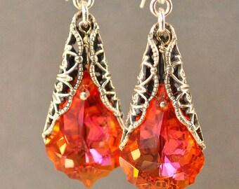 Orange Earrings - Swarovski Earrings - Filigree Earrings - Long Dangle Earrings - Swarovski Jewelry - Crystal Drop Earrings