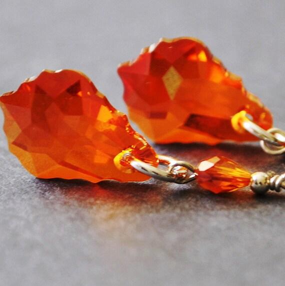 Swarovski Crystal Drop Earrings, Red Orange Earrings, Crystal Dangle Earrings, Handmade Sterling Silver Jewelry