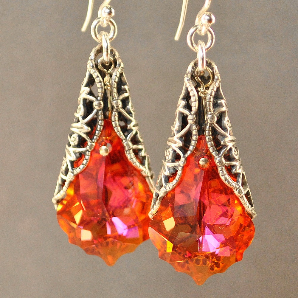 Orange Earrings Swarovski Earrings Filigree Earrings