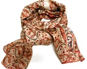 Beautiful LONG Neck Scarf ----Recycled Vintage SARI  -
