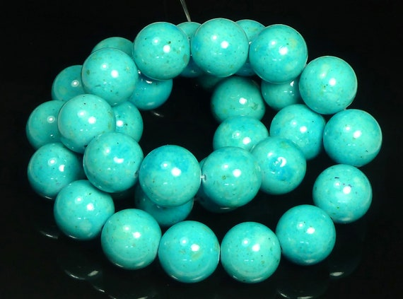 4mm Turquoise Blue Fossil Stone Round Beads - 16 Inch Strand - BA1