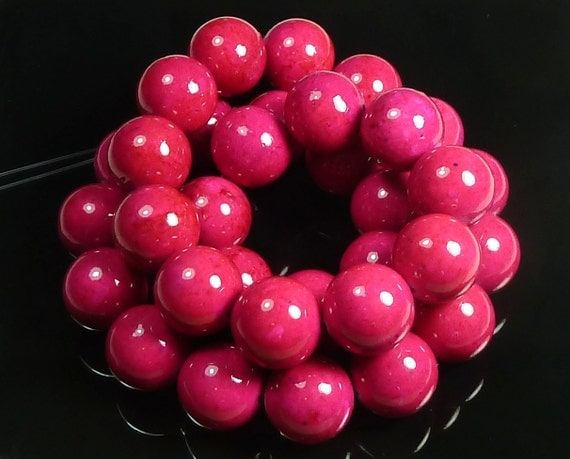 6mm Bright Rose Pink Fossil Stone Round Beads - 16 Inch Strand - BA5