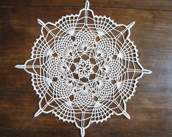 Lace Doily Natural or Beige Pineapple Crochet Doily Table Centerpiece Topper Bridal Shower Gifts