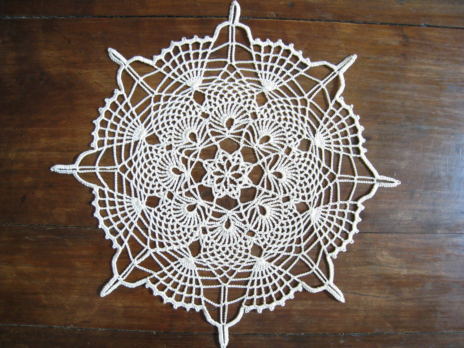 Lace Doily Natural Or Beige Pineapple Crochet Doily Table