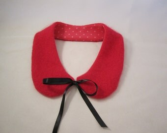 Bright pink wool /angora blend Peter Pan collar with satin ties One size Ready to ship