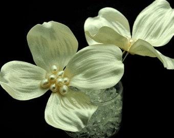 Set of 2 - Wedding Hair Flowers, Wedding Hair Pins, Bridal Accessories, Dogwood Hair Flowers