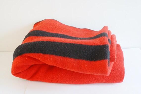 SALE Vintage Baron Woolen Mills Red Wool Camp Blanket with Black Stripes - Made in Brigham City, Utah