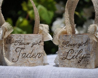 Personalized Shabby Chic - Rustic  Flower Girl Baskets Wood/birch Bark Basket Set