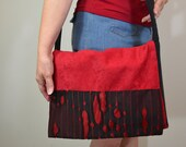 Messenger Bag, Bohemian Messenger bag, Cross Body Bag in Red and Black Micro Suede with Black Nylon Ripped-Like Fabric Accent