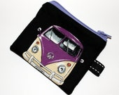 VW campervan coin purse, black and purple