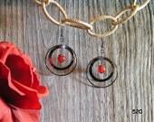 520- Natural Red Jade & Black Gun-Metal Hoop Earrings