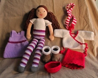 Sophie - Handmade Crochet Girl with Outfits - Soft Toy / Gift