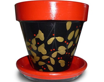 Hand Painted Flower Pot in Red, Black and Gold