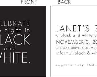 Black and White Party Invitation