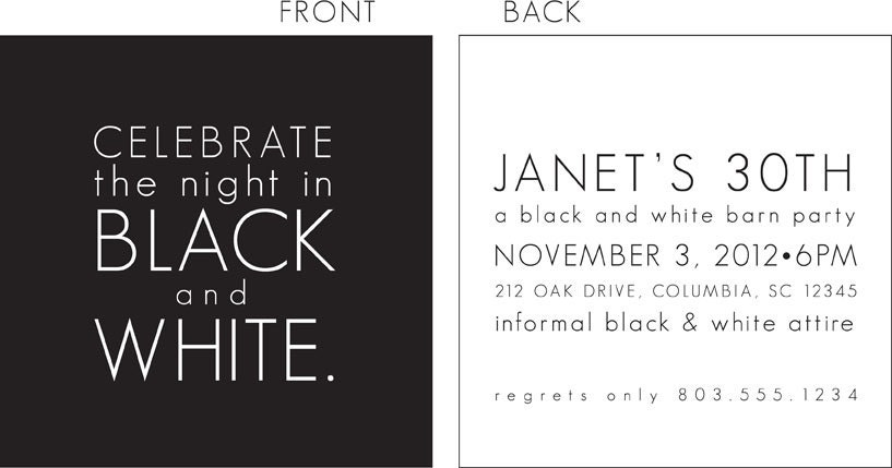 Black and White Party Invitation – Black and White Party Invites