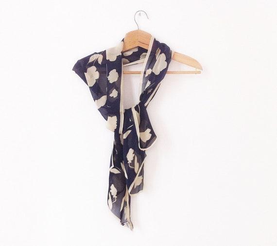 Giorgio Armani silk scarf, floral pattern in dark blue and ivory