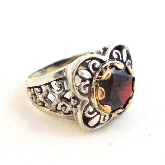 9K Gold Sterling Silver and Garnet Ring, Engagement Garnet Ring, 9K Statement Ring, Free Shipping